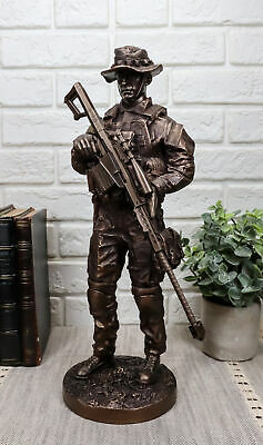 $75.99 • Buy Large Modern Military Marine Sniper Soldier Statue 13 Tall Marksman Task Force
