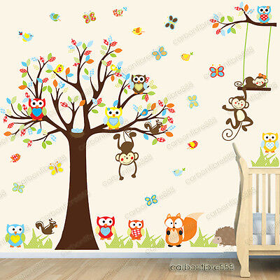 Jungle Animals Monkey Owl Tree Kids Art Decor Mural Decal Wall Stickers Nursery • 7.95£