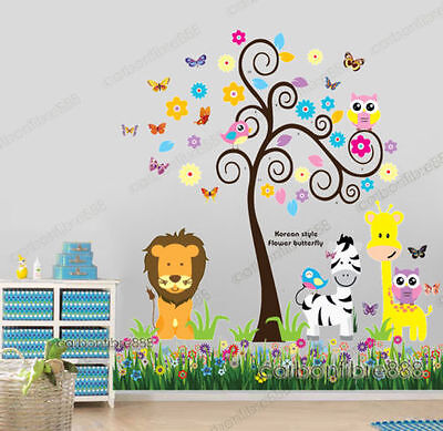 Owl Animal Tree Butterflies Grass Lion Zebra Giraffe Wall Stickers Art Decal Kid • 10.88£
