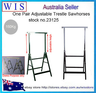AU129.99 • Buy 2 X Telescopic Saw Horse Metal Folding Trestle Work Bench Stand Adjustable Heigh