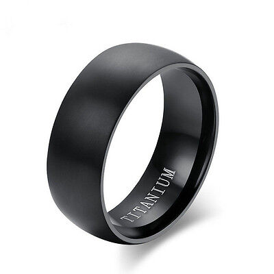 AU1 • Buy 8MM Men's Black Titanium Steel Ring Engagement Wedding Anniversary Band Size8-11