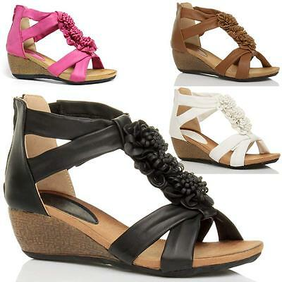 Ladies Wedge Sandals Womens Heels Strappy Summer Dress Party Evening Shoes Size • 11.95£