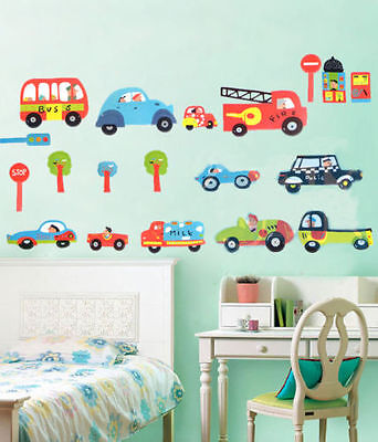 £5.19 • Buy Transport Cars Fire Engine Bus Traffic Wall Stickers Kids Art Decal Paper Decor