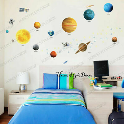 Solar System Space Ship Rocket Kids Bedroom Children Wall Stickers Decor • 9.99£