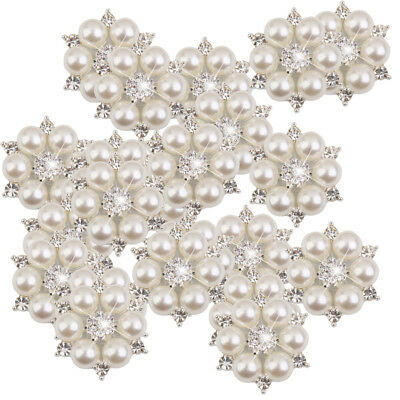 £12.92 • Buy 50 Crystal Pearl Flower Button Brooches For Wedding Bouquet Decor Craft 28mm