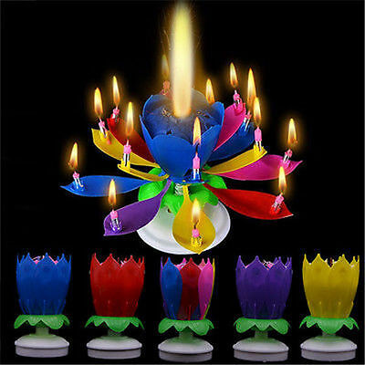 $ CDN3.84 • Buy Cake Topper Birthday Lotus Flower Decoration Candle Blossom Musical Rotating New