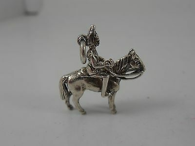 Traditional Sterling Silver Soldier On Horseback Charm   Vintage Silver Charm • 15£