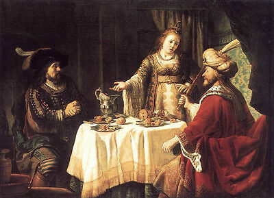 $ CDN143.71 • Buy Oil Painting VICTORS Jan The Banquet Of Esther And Ahasuerus Free Shipping Cost