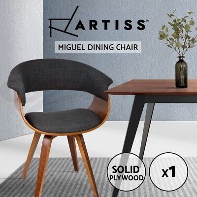 AU136.95 • Buy Artiss MIGUEL Dining Chairs Bentwood Wooden Chair Kitchen Home Fabric Charcoal