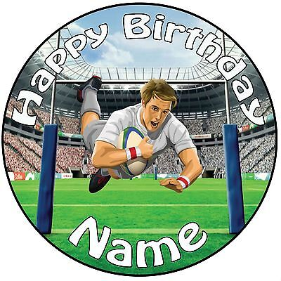 £5.25 • Buy Rugby Player Icing Cake Topper Decoration 8  (20cm) Circle - ANY NAME & AGE