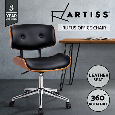 AU119 • Buy Artiss Office Chair Computer Chairs Executive Wooden Bentwood Leather Seat Black