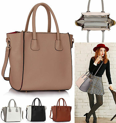 Women's Faux Leather Fashion Shopper Shoulder Handbags Tote Bags For Women • 13.99£