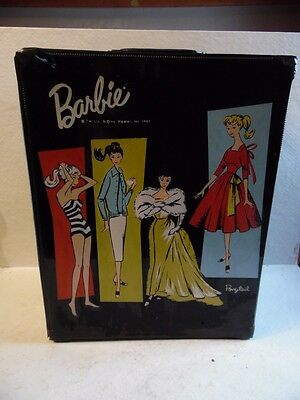 $ CDN33.87 • Buy Vintage Barbie Doll Black Vinyl Large Carrying Case Trunk Ponytail 1961