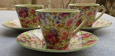$ CDN133.63 • Buy THREE Royal Winton Summertime Floral Rose Chintz Cup And Saucer Sets