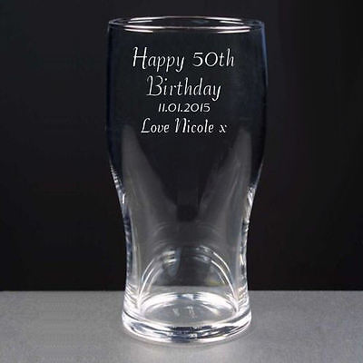 Personalised Pint Lager Beer Glass Happy 50th Birthday Engraved Gift • 9.99£
