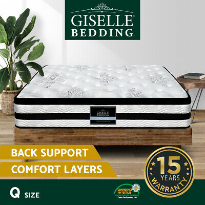 AU289.90 • Buy Giselle QUEEN Mattress 34CM Euro Top Pocket Spring Firm Plush Foam Bed
