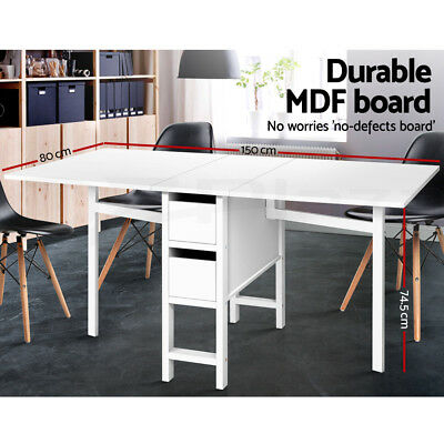 AU188.95 • Buy Artiss Dining Table Extendable Folding Tables Drawers Storage White Restaurant