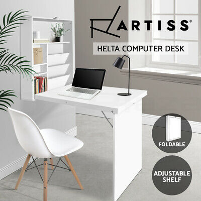 AU92 • Buy Artiss Foldable Wall Mount Computer Desk Study Office Table Storage Bookcase