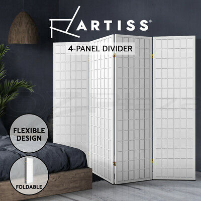 AU109.95 • Buy Artiss 4 Panel Room Divider Screen Wood Timber Dividers Fold Stand Wide White