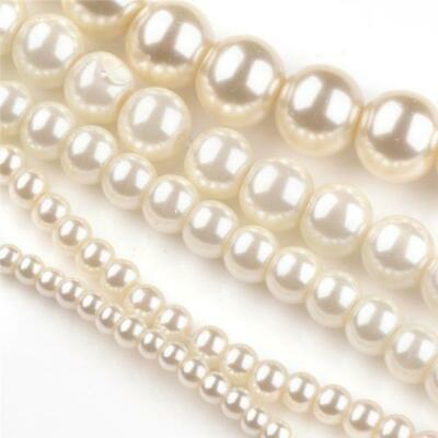 £2.59 • Buy 200 TOP QUALITY IVORY MIXED SIZE ROUND GLASS PEARL BEADS 3mm 4mm 6mm 8mm 10mm