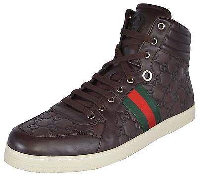 13da36a01 NEW Gucci Men's Leather Red Green Web GG Guccissima Coda High Top Sneakers  Shoes • 439.00