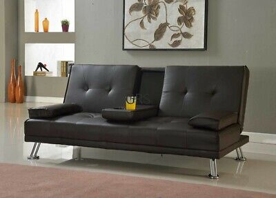 Sofa Bed Faux Leather Cupholder 3 Seater Black Brown Red Cream Chrome Legs New • 164.99£