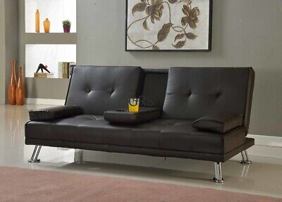 Sofa Bed Faux Leather Cupholder 3 Seater Black Or Brown Chrome Legs • 154.99£