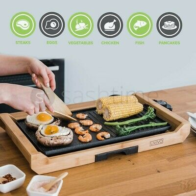 £37.95 • Buy 2in1 Electric Teppanyaki Table Top Grill Griddle BBQ Barbecue Garden 2 Spatulas