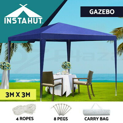 AU54.06 • Buy Instahut Gazebo 3x3 Tent Marquee Party Wedding Event Canopy Camping Blue