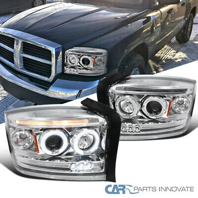 $153.82 • Buy For 05-07 Dodge Dakota Clear LED Halo Projector Headlights Head Lamps Left+Right
