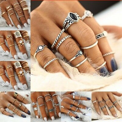 AU1.65 • Buy 12pcs Silver Boho Women Stack Plain Above Knuckle Ring Midi Finger Tip Rings Set