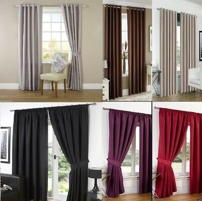 Faux Silk Fully Lined Curtains Pencil Pleat Or Eyelet Ring Top Free Tiebacks • 24.05£