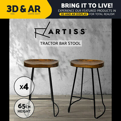 AU289.90 • Buy Artiss Vintage Tractor Bar Stools Retro Bar Stool Industrial Chairs Black 65cmX4