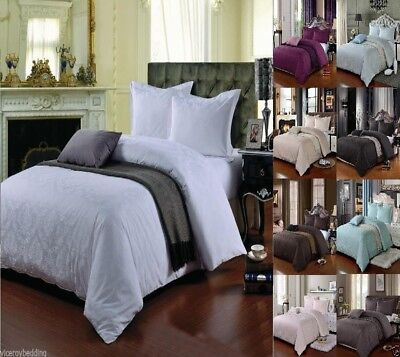 £18.85 • Buy Egyptian Cotton 500 Thread Count Damask Jacquard Duvet Cover Sets Fitted Sheet