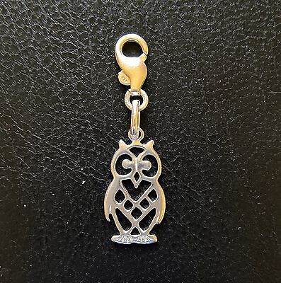 Sterling Silver Owl Charm 35 Mm Long With Clasp Stamped 925 • 6.50£