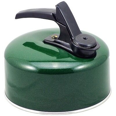 Whistling Stove Top Kettle 1lt  Camping Kettle Fixed Handle In Green  24080G • 7.95£