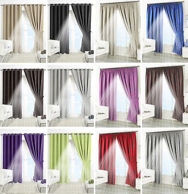 THERMAL BLACKOUT CURTAINS Eyelet Ring Top OR Pencil Pleat FREE Tie Backs • 27.54£