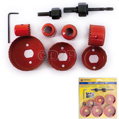 £6.99 • Buy 10pc Circular Tooth Hole Saw Wood Plasterboard Plastic Down Light Cutter Cut Set
