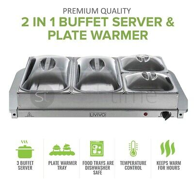 2 In 1 ADJUSTABLE HOT PLATE TRAY S/S STEEL FOOD WARMER BUFFET SERVER 300W LARGE  • 34.94£