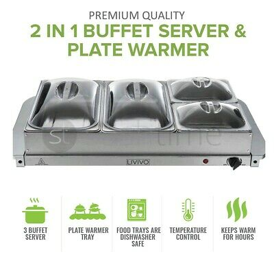 £39.95 • Buy 2in1 BUFFET SERVER FOOD WARMER ADJUSTABLE HOT PLATE TRAY S/S STEEL  300W LARGE