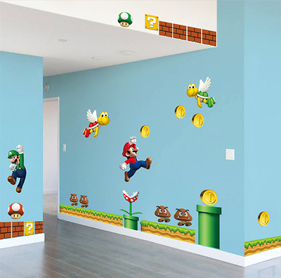 Super Mario DIY Removable PVC Wall Stickers Vinyl Decal UK  • 10.99£