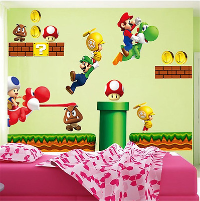 Super Mario DIY Removable PVC Wall Stickers Vinyl Decal Wallpaper Art Home UK V5 • 10.99£