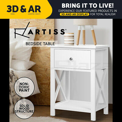 AU84.95 • Buy Artiss Bedside Tables Side Table Drawer Nightstand Storage Shelf White