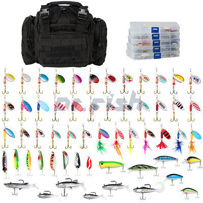 AU87.98 • Buy Fishing Tackle Bag Full With 5 Trays 60 Spinners Spoon Crankbait Huge Gear Kit