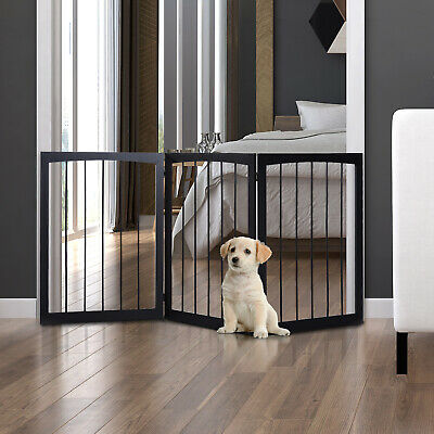 £30.99 • Buy Folding Pet Gate Dog Fence Child Safety Indoor Durable Free Standing Pine Wood