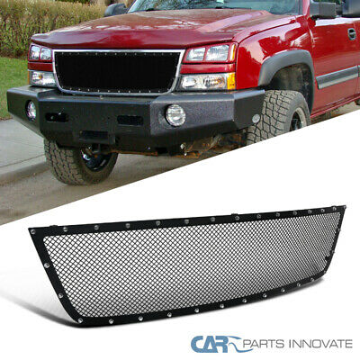 $105.95 • Buy For 05-07 Chevy Silverado 1500 2500HD 3500 Upper Mesh Rivet Black Grille Insert