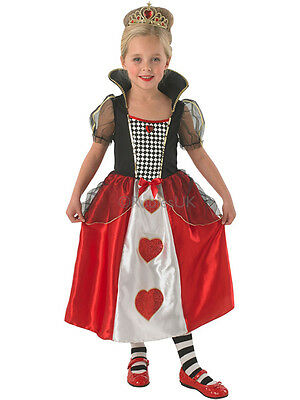 Child Queen Of Hearts Outfit Fancy Dress Costume Alice In Wonderland Kids Girls • 12.99£