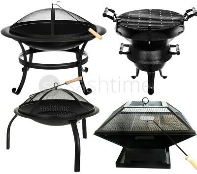 Livivo Outdoor Garden Fire Pit Firepit Brazier Stove Patio Heater Round/curved • 89.95£