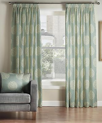 £59.99 • Buy One Pair Of MONTGOMERY Pom Pom Duckegg Pencil Pleat Lined Curtains
