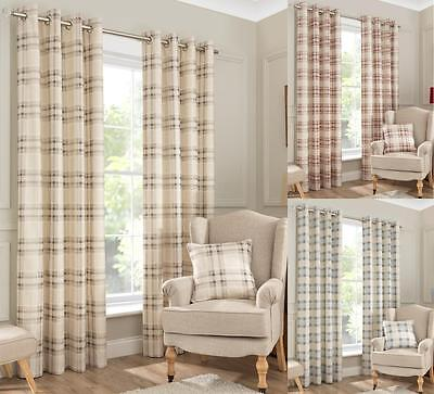 £8.99 • Buy One Pair Of INTERIORS NewPort Check Brushed Half Panama Eyelet Lined Curtains